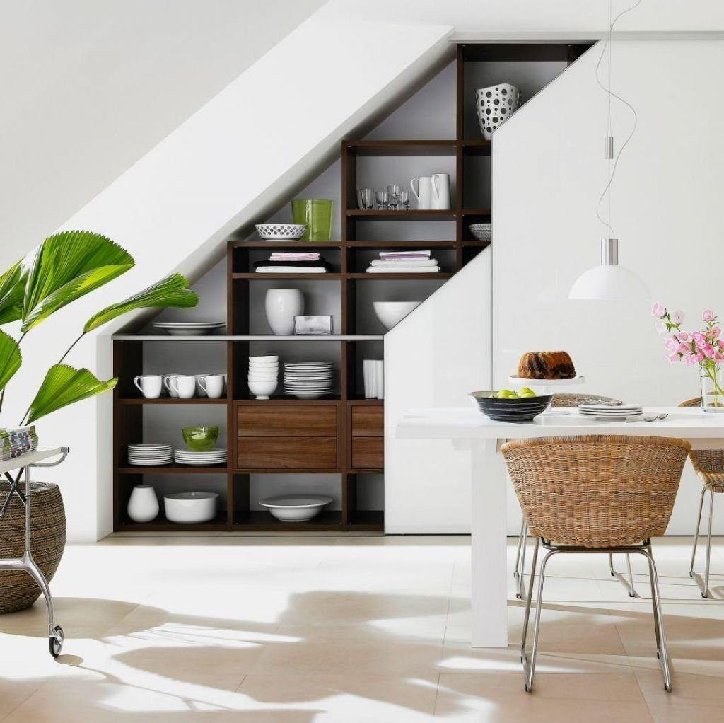 modern space design under the stairs