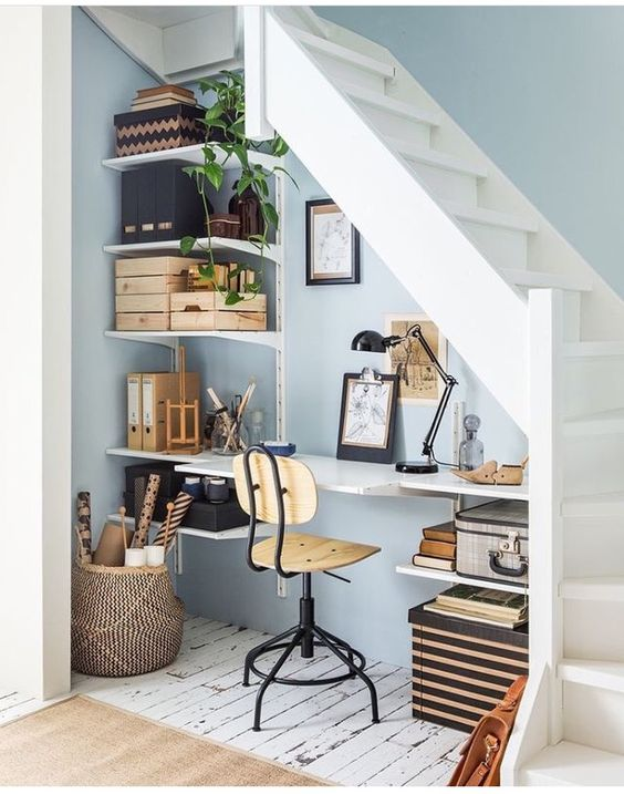 office design under the staircase