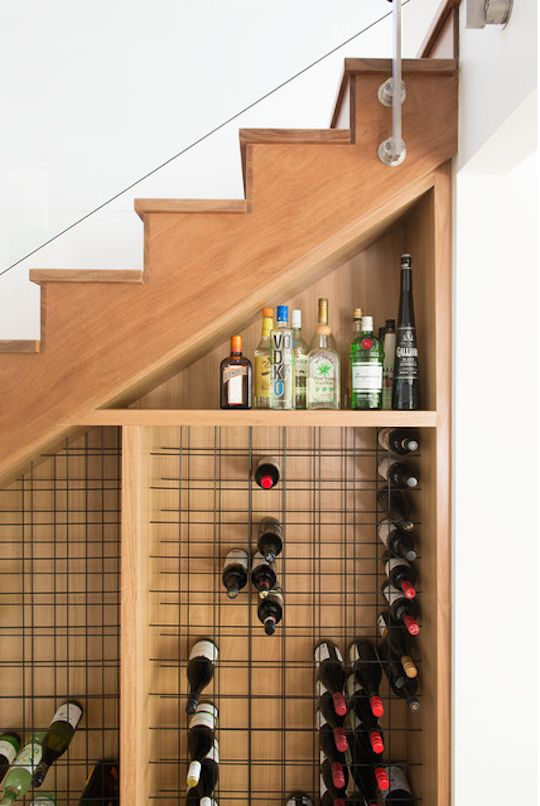 small vine storage under stairs