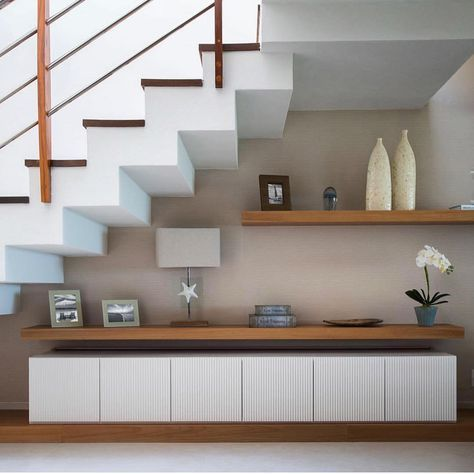 wall decor under stairs
