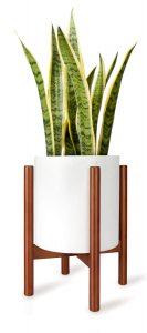 Mid Century Wood Flower Pot